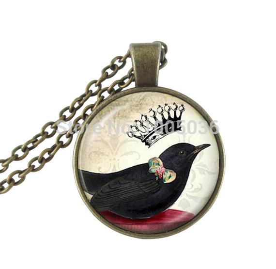vintage necklace bronze chain black bird necklace crown statement necklace art photo glass pendant necklace handmade jewelry(China (Mainland))