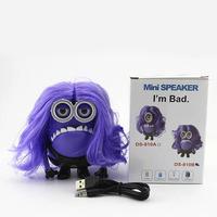 Mini Despicable Me Purple Minions Speaker Wireless Portable Speaker HIFI Boombox support TF Card FM Radio free shipping