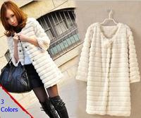 2014 fashion Lady Faux fur coat  sleeve faux medium-long women's winter overcoat girl's warm outerwear autumn jackets rabbit