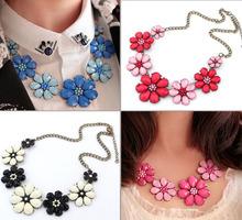 Pink bijou flower shourouk choker necklace/blue fashion gypsy boho jewerly women/maxi colar/necklaces female/bijouterie/jewelery