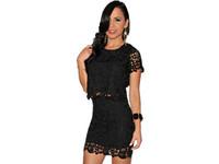 New 2014 mini saias femininas Black floral Crochet skirts womens two piece bodycon crop top and pencil skirt set