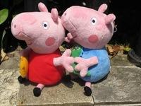 4pcs / lot hot sale Daddy Mummy Peppa and George family Plush Toy Set Movie TV,hold Kids Animals Dolls