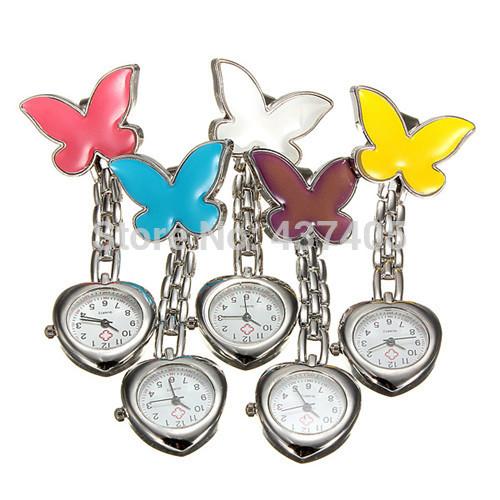 Fashion HOT Women Fashion Butterfly Style Heart Shape Nurse Watch Medical Doctor Watches Free Shipping(China (Mainland))
