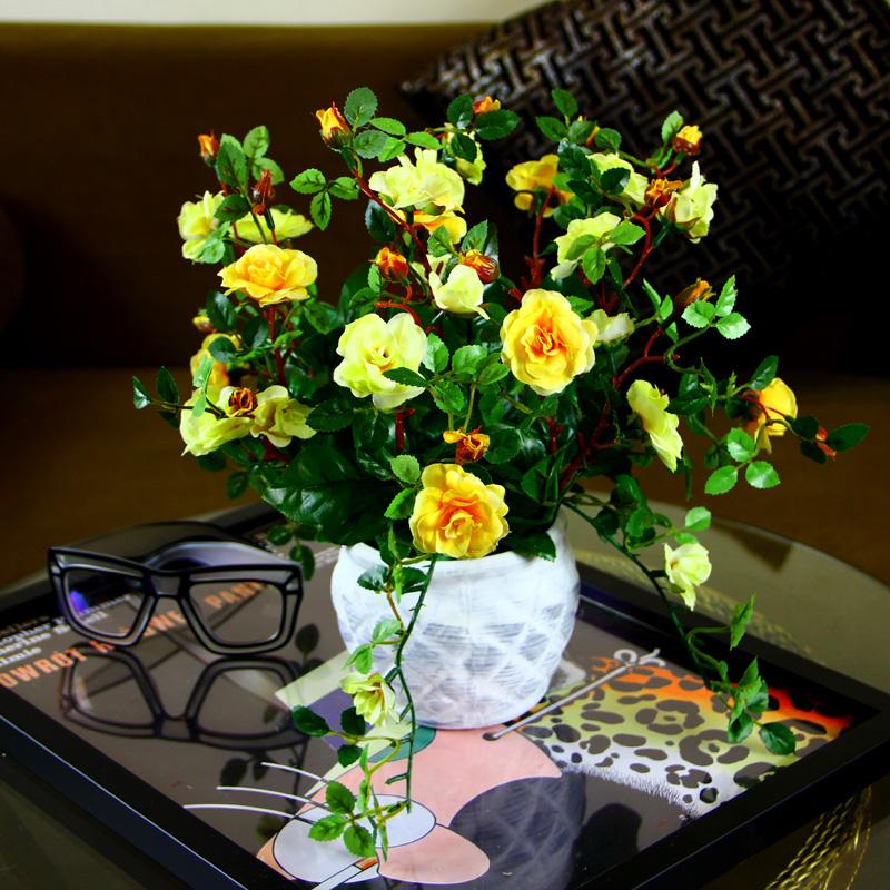 Flor decorativa vasos plantadores flores artificiais aumentou arranjos em vasos relógio mk Bonsai falso flores com vaso(China (Mainland))