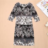 S-XXXL Plus Size Russia Dress 2014 Summer Casual Dress Vestidos De Festa Women Vintage Printed Bodycon Vestidos Casual CY001