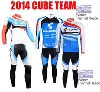 High quality !2014 CUBE Thermal Fleece Cycling Jersey Long Sleeve and Bike bib Pants Kits Ciclismo Clothing Maillot MTB