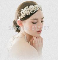 Top Quality Real Luxurious100% Handmade Crystal Pearl Bridal Headhand Tiara Bridal Hair Jewelry Wedding Hair Accessories