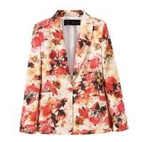 8.19 sales Women's top New 2014 blazer za Women Painting Flower Print Woman Blazers Long Sleeve Suits for women Coat W00172