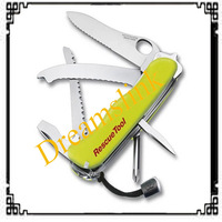 2014 111mm Multifunctional Swiss Camping Fluorescence Army Folding Knife Rescue Tools Outdoor Survival Switzerland Saber Knives
