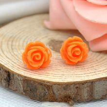 6 Colors Vintage Retro Resin Beautiful Rose Flower Ear Stud Earrings for Women Girls Earing Y52