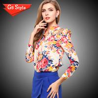 Casual fashion blusas femininas 2014, summer new , women's long-sleeved shirt Slim Sexy Plus Size Chiffon floral chiffon shirt s