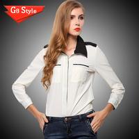 Casual fashion blusas femininas 2014, spring and summer new , women's Korean style   long sleeve chiffon shirt