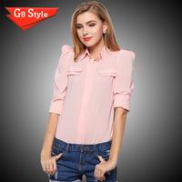 Casual fashion blusas femininas 2015, spring and summer women's large size chiffon shirt blouse shirt Slim small shrug Puff -sle