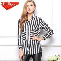 Casual fashion blusas femininas 2014 Spring women's lapel loose long-sleeved striped shirt female shirt pocket chiffon shirt