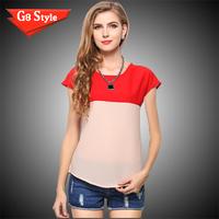 Casual fashion blusas femininas 2014, summer new Korean women stitching color big size short sleeve chiffon shirt loose  t-shirt