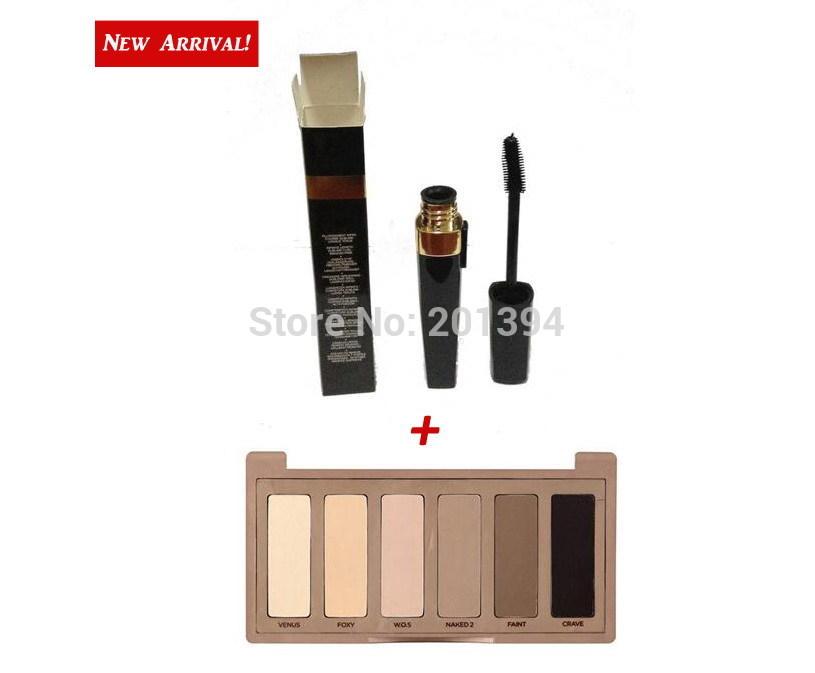 New Launch! Popular 2pcs/set 2014 Brand New Mascara Waterproof Natural Surrealist Black Eyes Makeup Plus Basics 6-color Palette(China (Mainland))