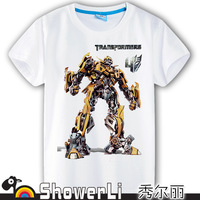 Cotton short sleeve children t shirts, cute cartoon,game boys girls figure kids wear 2014 spring new Robot Optimus Prime