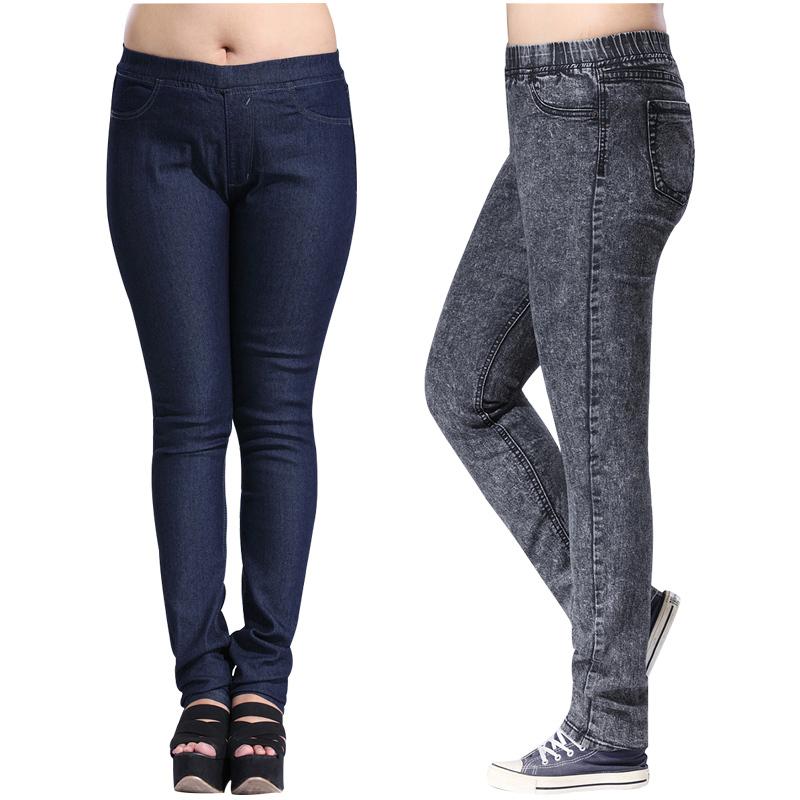 2014 esplosione modelli nuovo arrivo plus size lungo jeans delle donne pantaloni denim ampio cortile casual femminile pantaloni jeans matita 4xl xxl