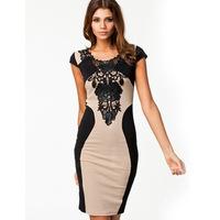 M L XL Bandage Dress 2014 New Arrival Women Elegant Embroidery Bodycon Dresses New Fashion Patchwork Autumn Casua