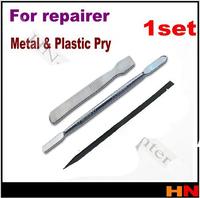 1set 3 Pcs Metal & Plastic Spudger Set Repair Opening Pry Tool for Apple iPad iPhone