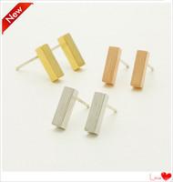 gold square rectangle stud earrings shourouk free shipping