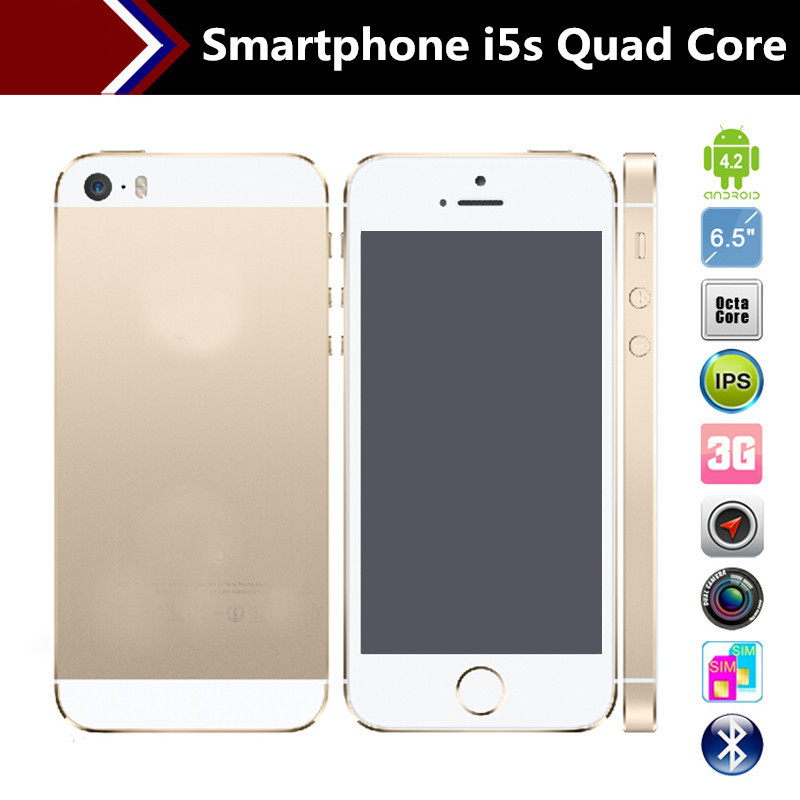 4.0 inch MTK6582 Quad Core i5 5S mobile Phone Android 4.2 Single SIM Card smartphone GPS WCDMA 3G i5s cell phone Free shipping(China (Mainland))