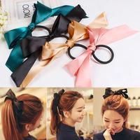 2014 New Women Pretty Ribbon Bow Hair Tie Rope Hair Band Scrunchie Ponytail Holder Hot headwear head band
