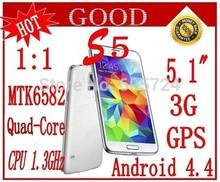 "New 1:1 S5 i9600 G900 5.1 "" 3G android 4.4 MTK6572/MTK6582 WCDMA GPS 13MP Smart Phone Micro SIM Single Card Gift Free shipping(China (Mainland))"