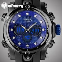 New 2014 INFANTRY Glow In Dark Men's Digital Quartz Wrist Watch Day Alarm Rubber Strap Sport Watch Military Watches Blue Dial