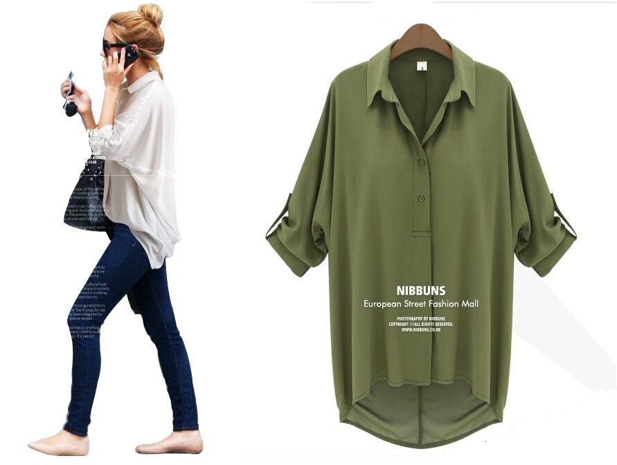 Blusas 5770 2014 novas mulheres da moda soltos Chiffon Sexy verão camisa de manga longa top branco blusas casuais blusas(China (Mainland))