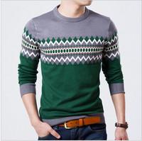 2014 Autumn Slim Round Neck Sweater Men Rhombus Printing Pullover Sweater