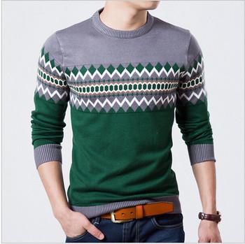 2014 осень тонкий шею свитер мужчин ромб печать пуловер свитер