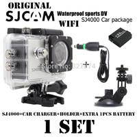 Original WIFI SJ4000 Waterproof Camera 1080P12.0M Full HD Sport Action Camera+Car Charger+Holder+Extra 1pcs battery for camera