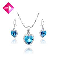 2014 fashion earrings Platinum Heart of Ocean Necklace Set, Chrismas /Birthday gift