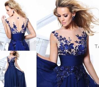 Лучший мода благородный элегантный синий бесплатная доставка шифон аппликации вечер ну вечеринку выпускного вечера платья
