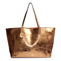 2014 new fashion metallic color genuine leather shoulder bags Women's handbags shopping bag big bags All-match