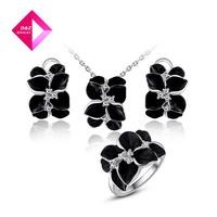 2014 fashion Austrian crystal black flowers Packages,wedding jewelry fashion kits set Series