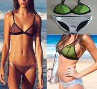 Hot Women Bikinis Neoprene  Bikini Vintage Mesh Swimwear   Bikini Set  Swimsuit Set 5 Colors  Bikini
