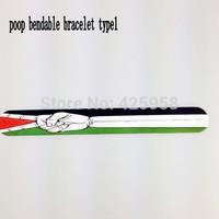 2014 wholesale palestine flag  fashion silicon poop bendable bracelet