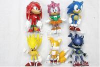 Free shipping sega toys sega sonic 1set= 6pcs 6cm SEGA Figures toy pvc toy sonic Characters action figure toy