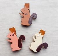 2014 real new free ship 1lot=8sets/korean stationery kawaii Cute animal squirrel wood clamp  Cartoon memo clip school supplies