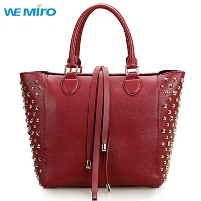 New Winter Genuine Leather Womens Hand Bags Rivet Studded Handbags Fashion Bolsas Dama De Mujer 2014(China (Mainland))