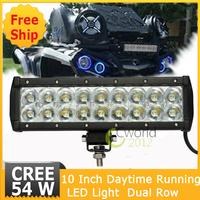 10 inch 54W Dual Row Cree Spot beam LED Work Light 5400lm Work Light Bar for car,ATV,UTV,SUV,truck
