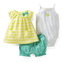 2014New Arrivals ,Carters Original Baby Girls 2-Piece Dress & Cardigan Set ,Baby Girls Clothes Set,Freeshipping