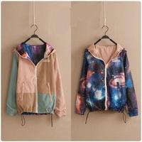 2015 Spring Harajuku Women Coats With Hood Galaxys Star Jacket Color Block College Varsity Jacket Reversible