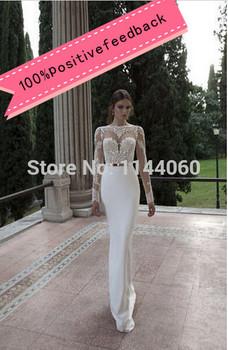 Новый русалка винтаж спинки свадебные платья видеть сквозь сексуальная элегантный свадебные платья аппликация кружева свадебное платье халат де Mariage