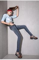 women's jeans slim pencil pants quality mid waist slim elastic skinny pants  Popular Fashion famous brand plus jeans woman 6005