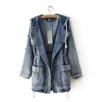 2014 New Fashion Desigual Women Snow Print Hoodies Jeans Trench Coat #62956