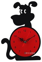 Free shipping home decor wall clocks personalized acrylic wall clock decorative cartoon dog watch black and red  silent movement