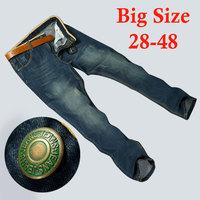 Winter Vintage Blue Jeans Men Plus Size Stretchy Pants Denim Cotton Straight Large Big Jean For Men 40 42 44 46 48